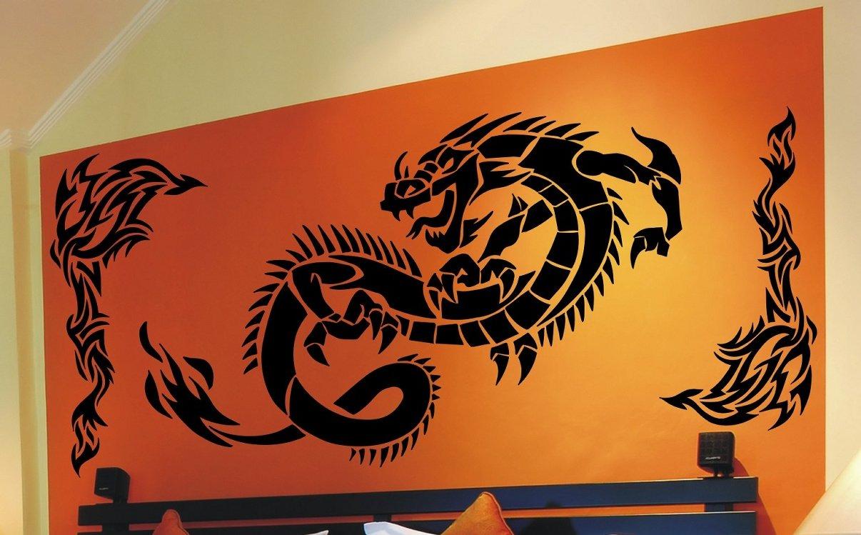 Faszinierend Wandtattoo Drachen Sammlung Von Drache Tribal Wandaufkleber Wandsticker Wallprint (größe Drache