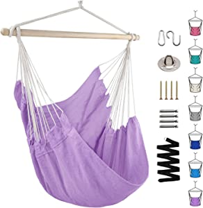 Hammock Chair Swing with Hardware Kit, Indoor Outdoor Hanging Rope Swing Chair Comfortable Hanging Chair, Max Weight 330 Lbs(Purple)