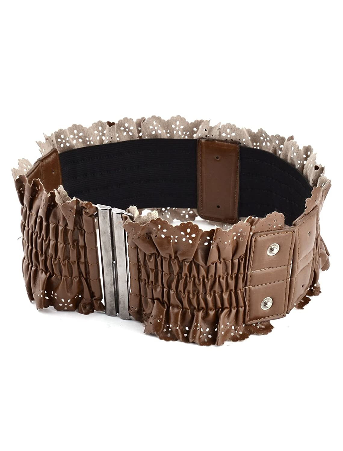 uxcell Women Ladies Outdoor Household Lacy Elastic Stretchy Wide Buckle Waistband Belt