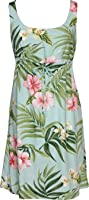 Empire Tie Front Short Tank - Pale Hibiscus Orchid Empire Waist Scoop Square Neck Knee Length Hawaiian Aloha Pullover Dress in Aquamarine - S