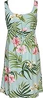 RJC Womens Pale Hibiscus Orchid Empire Tie Front Short Tank Dress in Aqua - 3X Plus