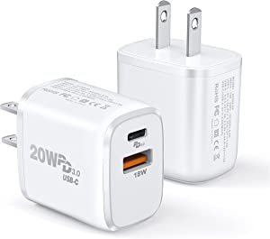 USB C Charger, 2-Pack Mini 20W iPhone 12 Fast Type C Wall Charger with PD 3.0, Dual Port PD 3.0 Block Plug for iPhone 12/ Mini/Pro Max/11/11 Pro Max/Galaxy/Pixel (3.3ft Cable Included)