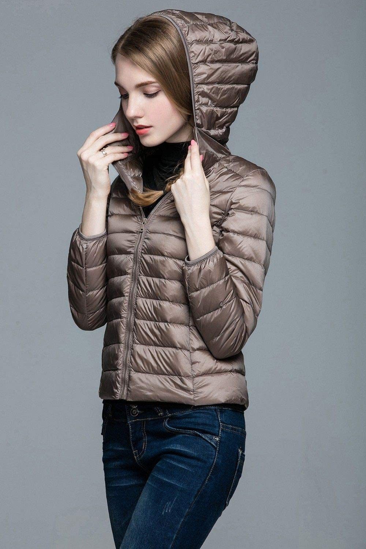 EIJFKNC Giacche Giù Giacca Invernale da Donna Impacchettabile Cappotto Invernale da Donna con Cappuccio Caldo Solido Manica Lunga da Donna cachi