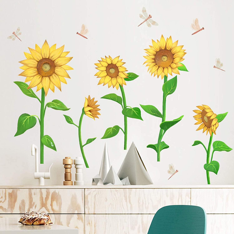 MOLANCIA Sunflower Wall Sticker, Beautiful Dragonfly Wall Decals, Garden Flower Wallpaper Wall Art Decor, Peel and Stick Art Mural for Living Room Kids Bedroom Home Décor