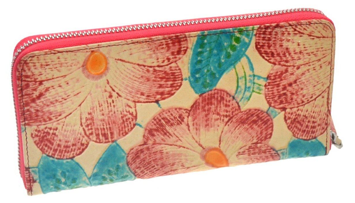 Genuine Top Grain Leather Women's Zip Around Wallet - Credit Card Clutch Organizer (Beige Flowers)