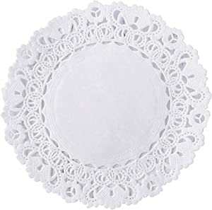 White Decorative 4 inch Round Paper Lace Table Doilies – Great for Serving Small Treats or Rolling Around Silverware (pack of 100)