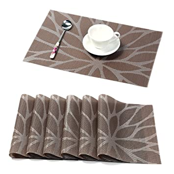 hebe placemats for dining table set of 6 durable woven vinyl kitchen table mats placemat set. beautiful ideas. Home Design Ideas