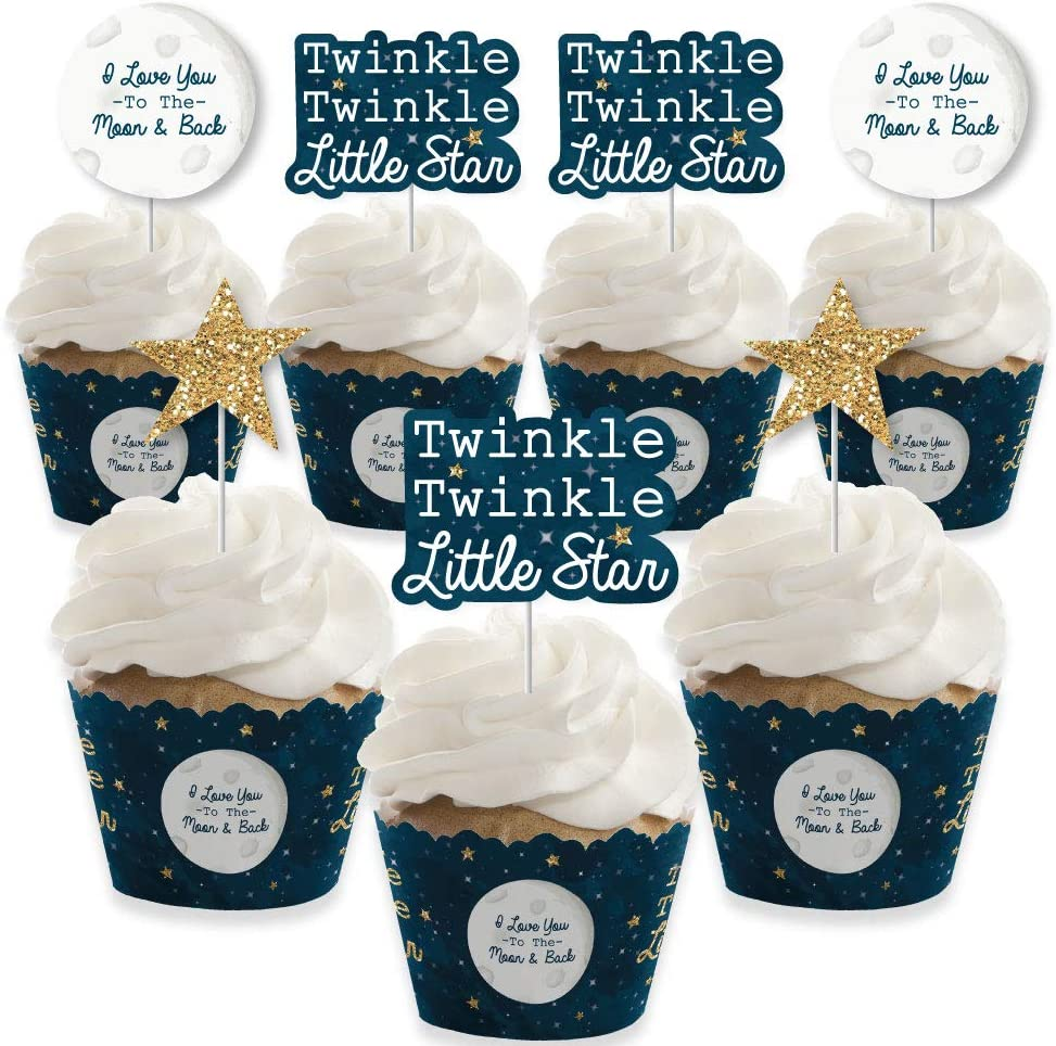 Boys baby shower Star cupcake toppers christening baptism Various quantities birthday Blue twinkle twinkle little star cupcake picks