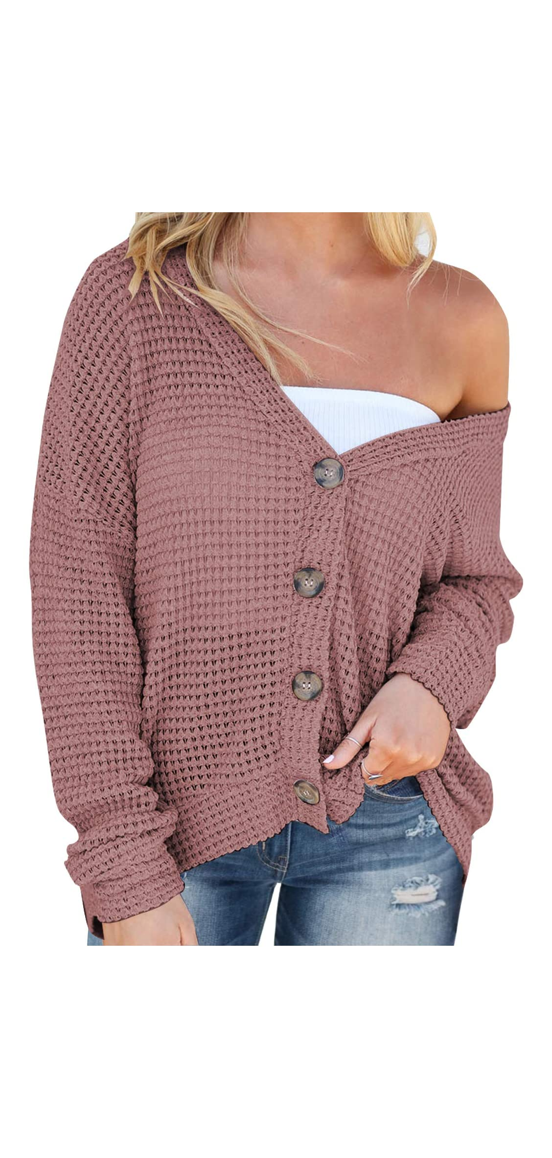 Women's Casual Tops Long Sleeve V Neck Button Down Shirts