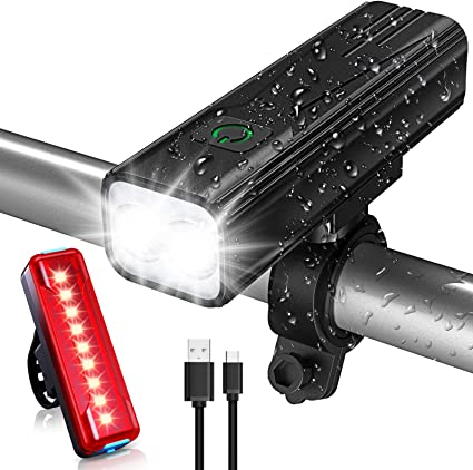 Bike Lights Set 5 Adjustable Lightness /& Flashlight with Waterproof IPX5 /& Easy Install /& 6-50Hrs Running Time Bovon 800 Lumens USB Rechargeable Bicycle LED Front Light /& Back Tail Light