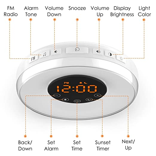 amazon com awesomeware wake up light sunrise alarm clock digital rh amazon com