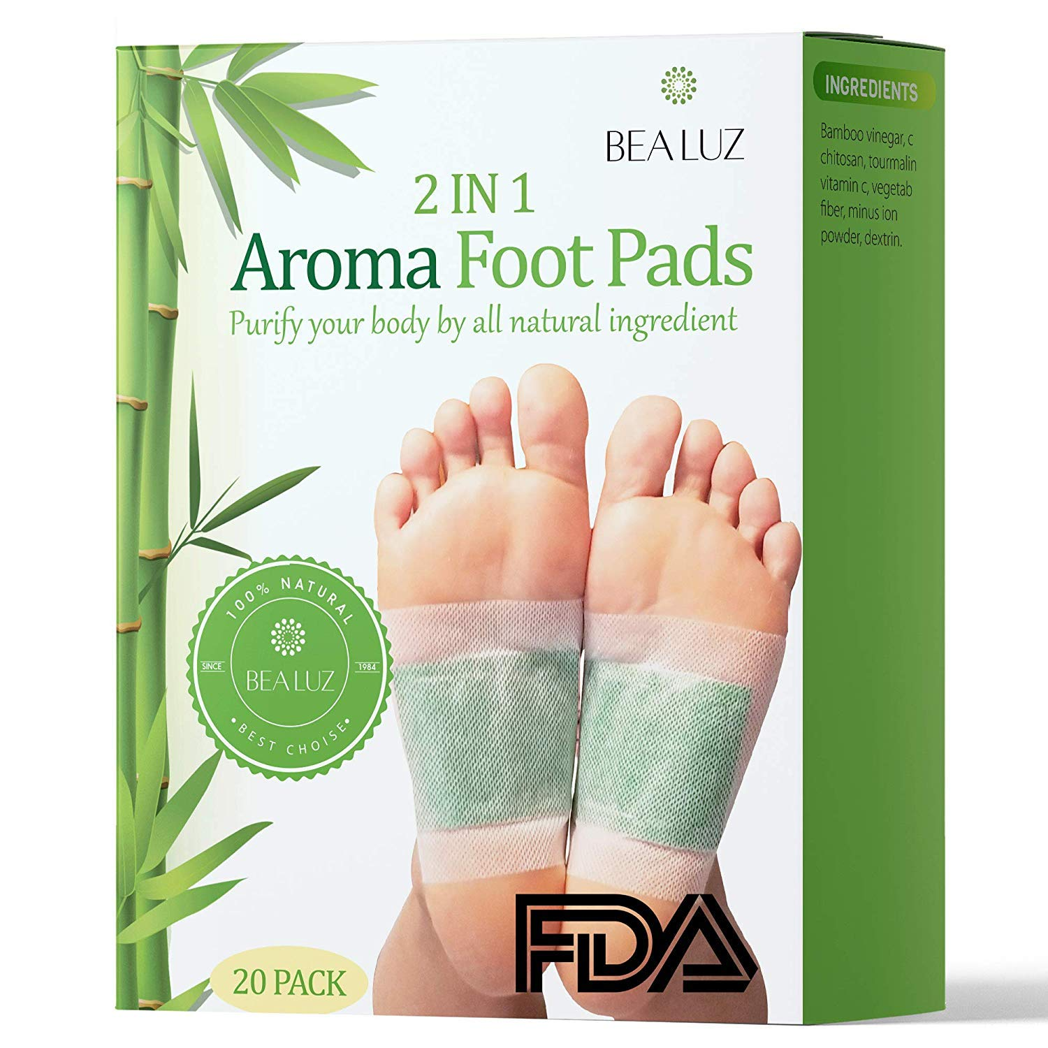 Foot Pads - 2 in 1 Purifying Foot Pads, 100% Natural for Pain Relief, Calm & Improved Sleep, Natural Cleansing, Aromatherapy Pads by Bea Luz (20 Pack/Rose, Lavender, Ginger, Green Tea)
