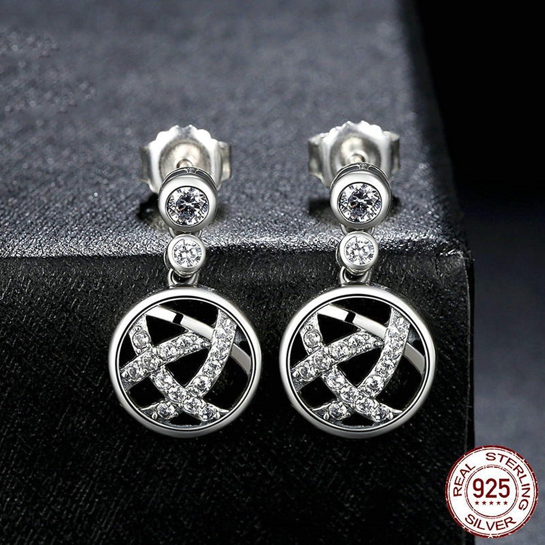 Aokarry 925 Sterling Silver Hollow Pentagram Cubic Zirconia Drop Earrings for Women Girls Silver