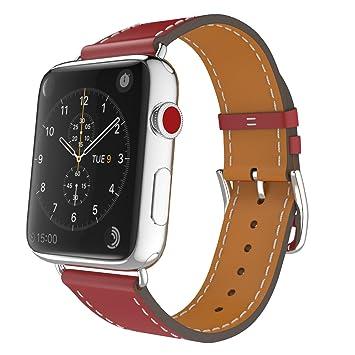 MoKo Correa para Apple Watch Series 5/4 / 3/2 / 1 42mm, Simple Tour Reemplazo SmartWatch Band de Reloj Cuero Auténtico Imitado Pulsera para Apple ...