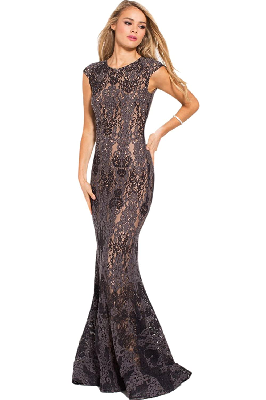 aaab833809de Long Sleeve Charcoal Evening Dress – DACC