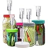 Klemon Fermentation Lids, 6 Set Fermentation Kit for Wide Mouth Jars, Plastic Fermenting Lids with 6 Airlocks, 6 Silicone Gro