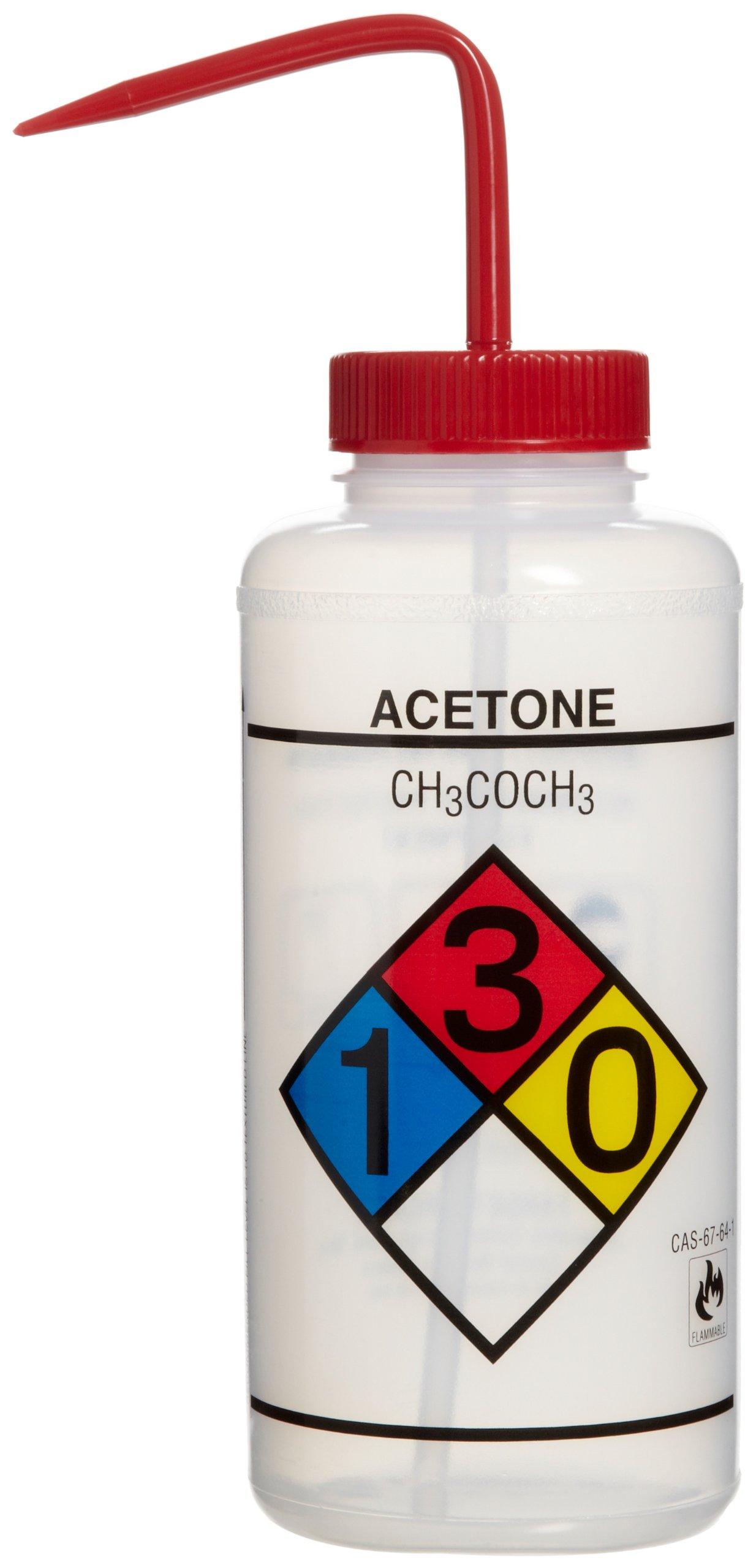 Bel-Art Safety-Labeled 4-Color Acetone Wide-Mouth Wash Bottles; 1000ml (32oz), Polyethylene w/Red Polypropylene Cap (Pack of 4) (F11732-0001)