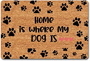 CLZ Entry Way Mat Be Nice Or Leave Funny Welcome Doormat Personalized Monogram Rug Decorative Indoor Non-Woven 23.6 by 15.7 Inch Machine Washable Fabric Top for Home Decor (Home is Where My Dog is)