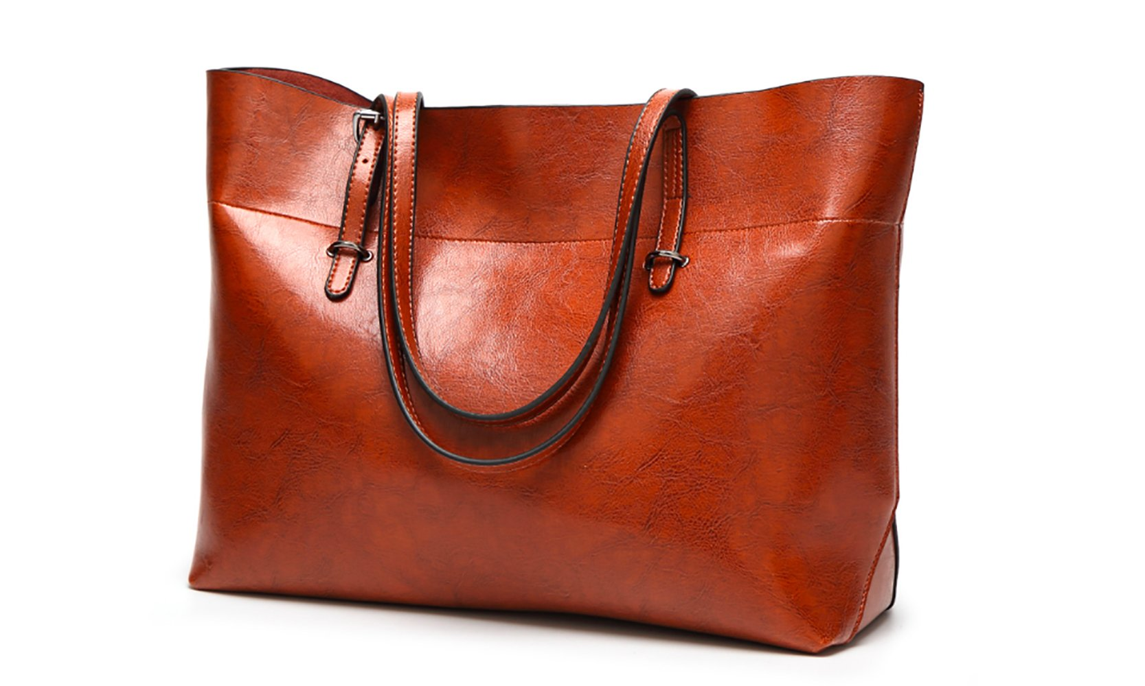 Women's Vintage Fine Fibre Genuine Leather Bag Tote Shoulder Bag Handbag Model Sie Brown