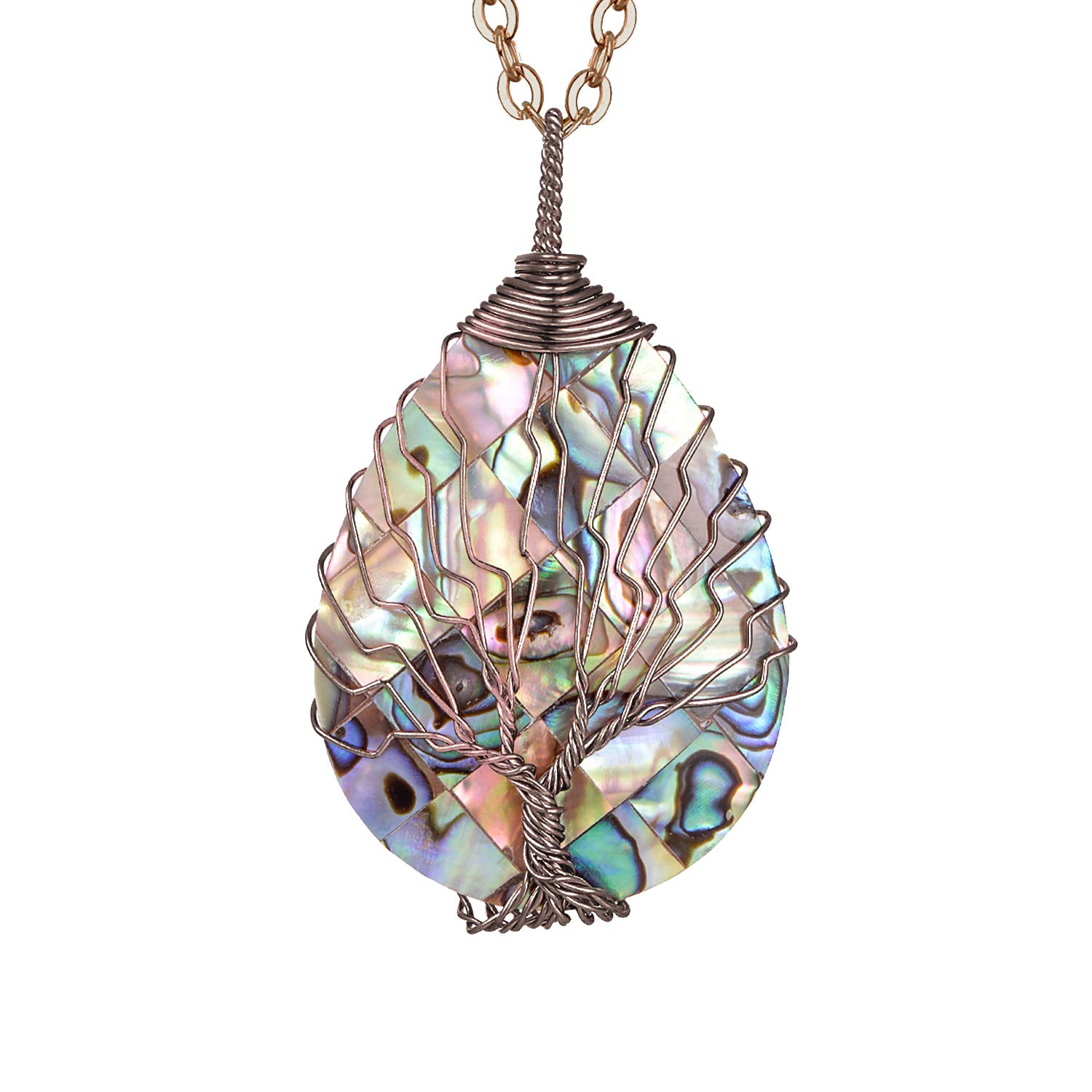 sedmart Water Drop Shape Abalone Tree of Life Necklace Copper Wire Wrapped Pendent Abalone Jewelry for Women