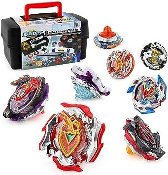 OBEST Peonzas Juguetes Conjunto, 8 Nuevo Gyro Spinner y 2 Turbo Burst Launcher Set, con Caja Portátil: Amazon.es: Juguetes y juegos