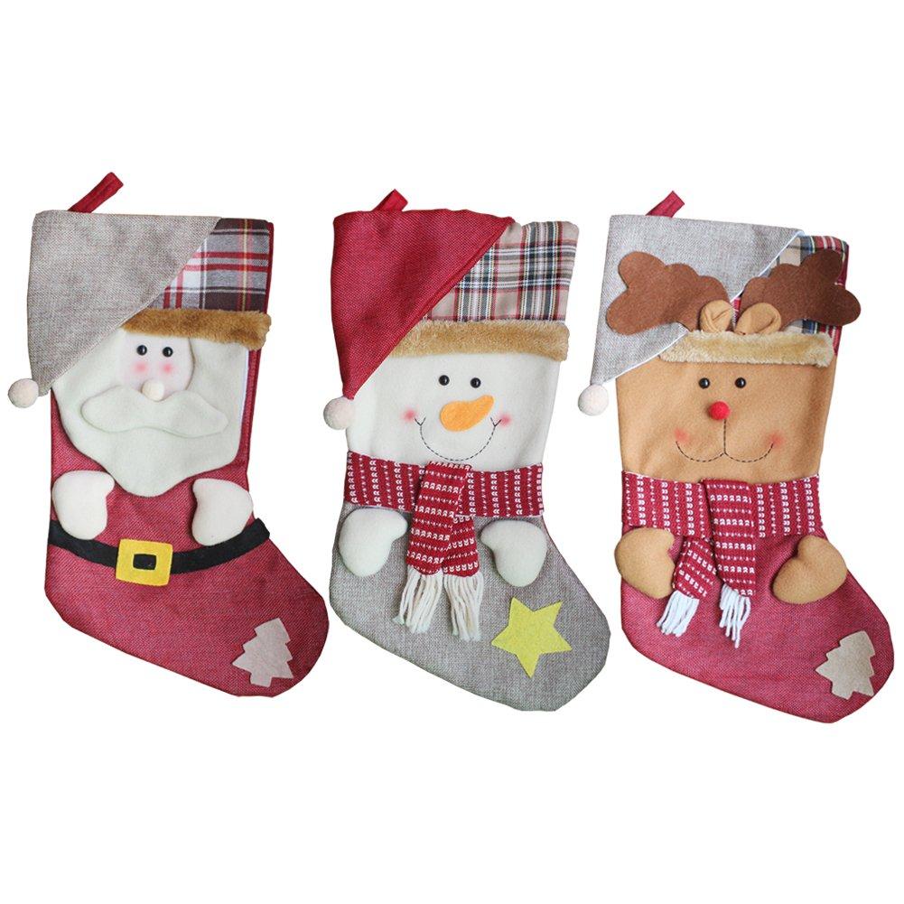 AnciTac Christmas Stockings Hanging Set 17'' Large Bags, Bulk Stocking Kit for Xmas Tree or Fireplace Decoration(Type A)