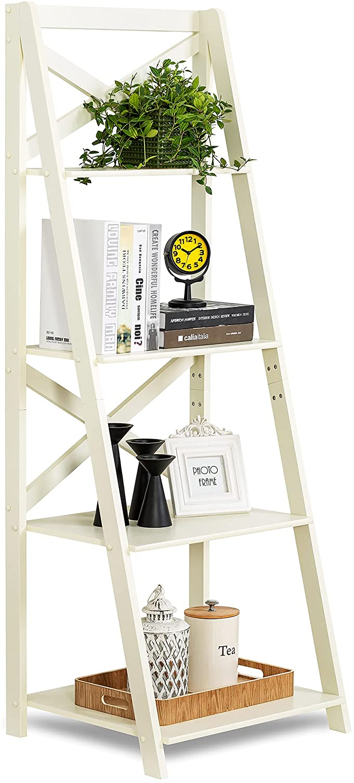 ZENODDLY Ladder Shelf White Ladder Bookshelf, 56.3in Tall Standing Ladder Shelves for Living Room Bathroom Furniture Bedroom Display Shelf, Wooden Leaning Bookshelf Ladder Bookcase Plant Shelf Indoor