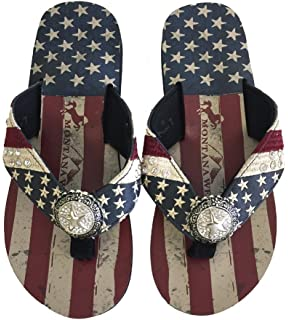c1c34a6db27d6 Montana West Ladies Flip Flops USA Flag American Pride Flat Style Navy Blue