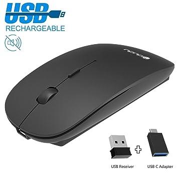 IDUDU - Ratón Inalámbrico Recargable Mini, Portátil y Silencioso, con Receptor de USB y Adaptador USB-C, color Negro: Amazon.es: Electrónica
