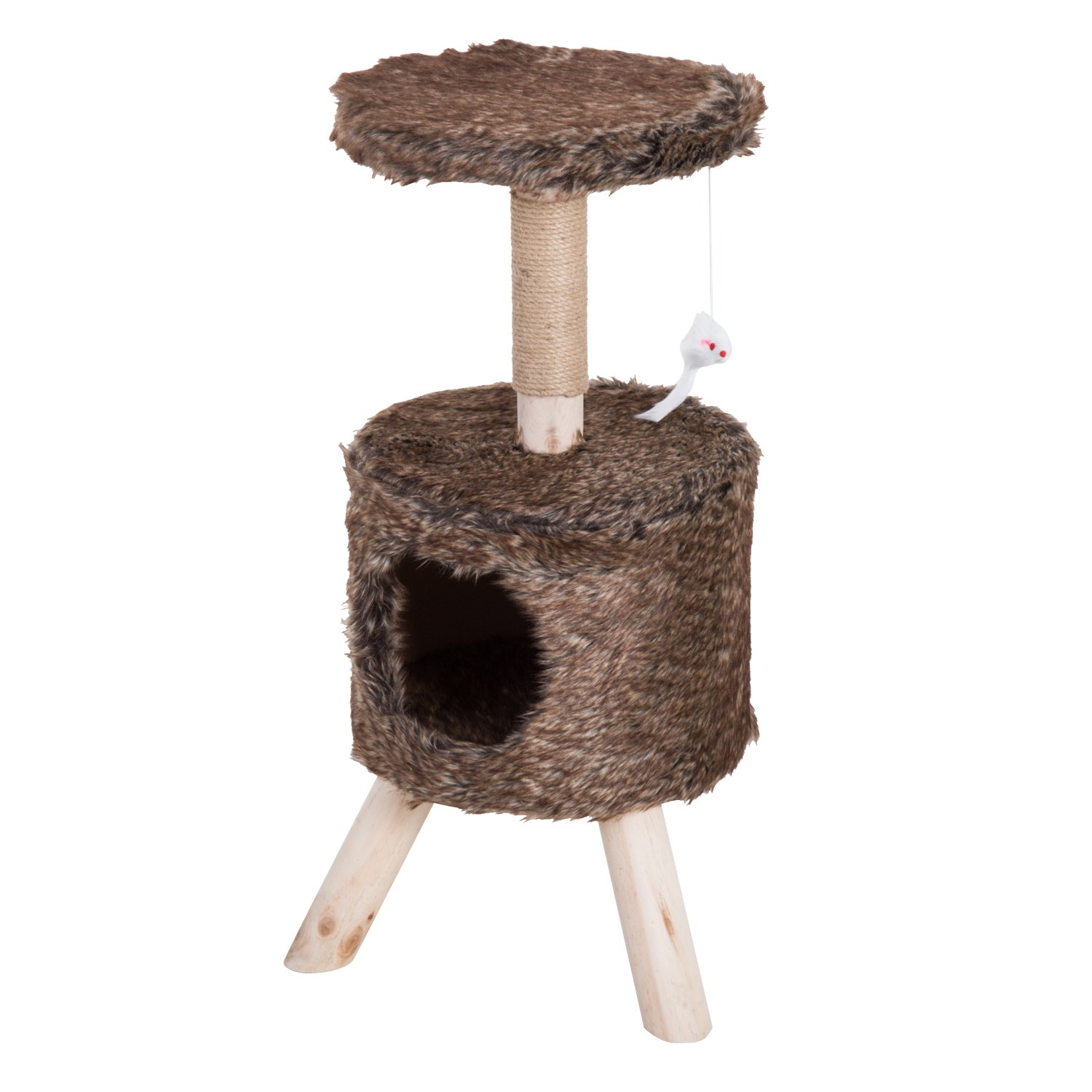 PawHut 26'' Modern Plush Cat Activity Climbing Tree House Condo with Scratching Post Toy