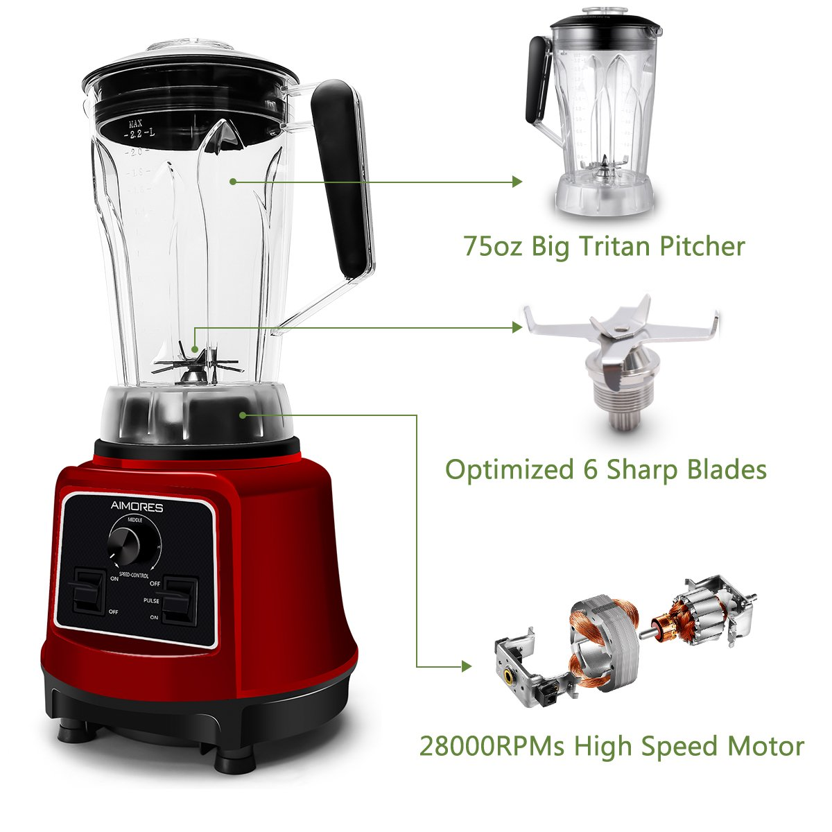 Commercial Blender Aimores for Smoothie   750z. High Speed Juicer, Ice Cream Maker   Optimized 6 Sharp Blades   Auto Clean & Simple Control   w/ Recipe & Tamper   ETL & FDA Certified (Red) by ISUN (Image #3)