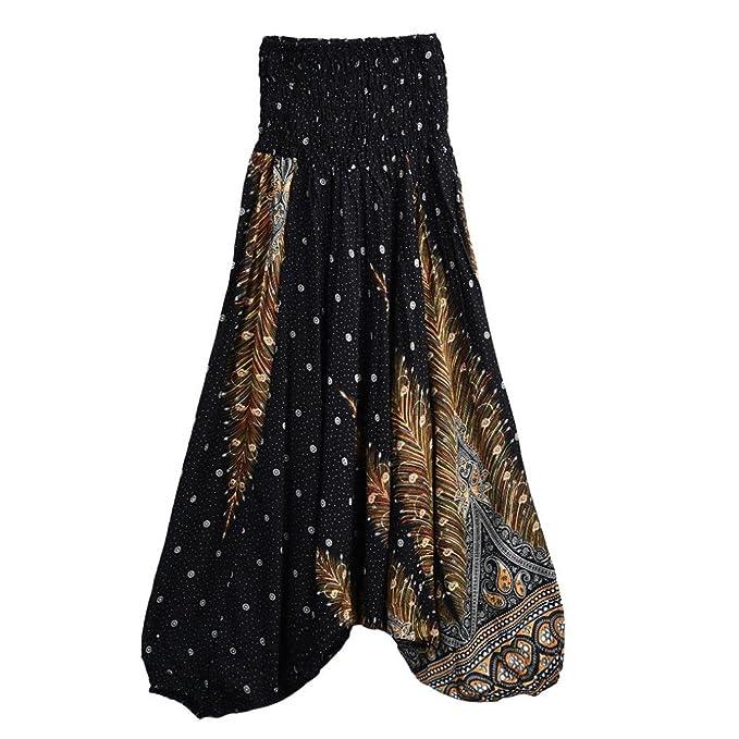 Amazon.com: ooeoo Boho pantalones de yoga, moda mujer verano ...