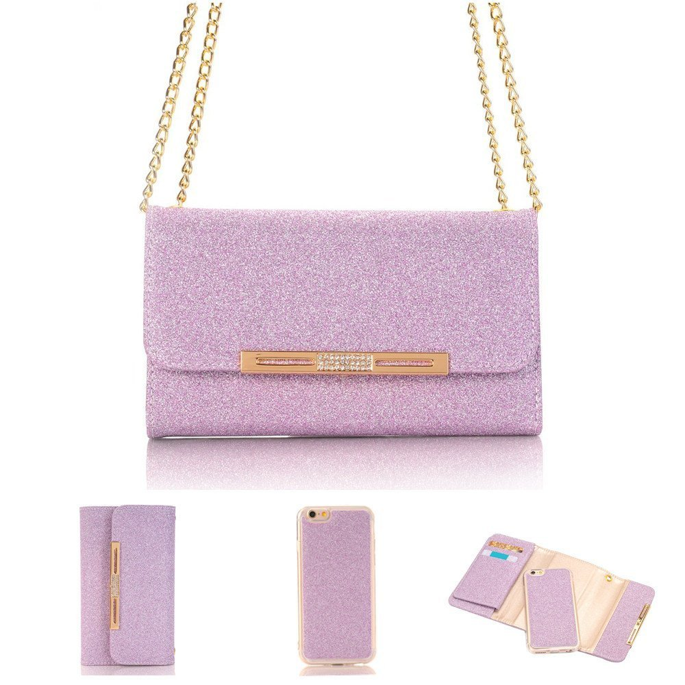 iPhone 8 Women Wallet Case 4.7 Inch with Card Holder, Businda Girls Color PU Leather Folio Stylish Design Lady Multi Envelope Package Handbag Clutch Cover for iPhone 8, Purple