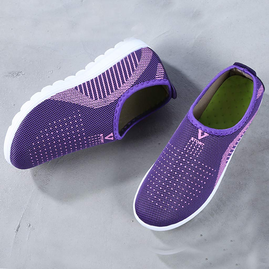 Nebwe Shoe Women Mesh Flat Cotton Casual Shoes Women Walking Stripe Sneakers Loafers Soft Summer