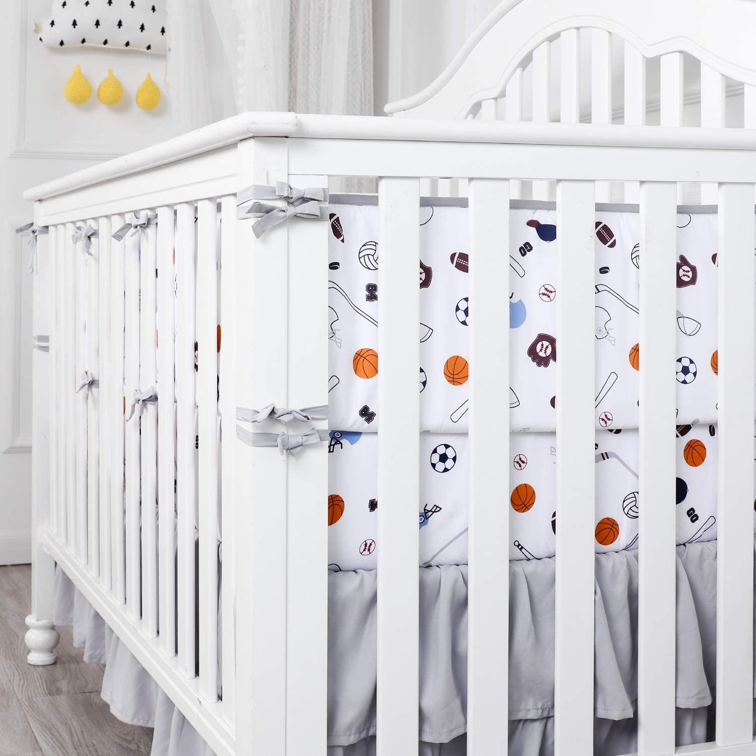 TILLYOU Baby-Safe Breathable Crib Bumper Pads for Standard Cribs Machine Washable Padded Crib Liner for Nursery Bedding 100/% Silky Soft Microfiber Polyester,4 Piece//Baseball Sports