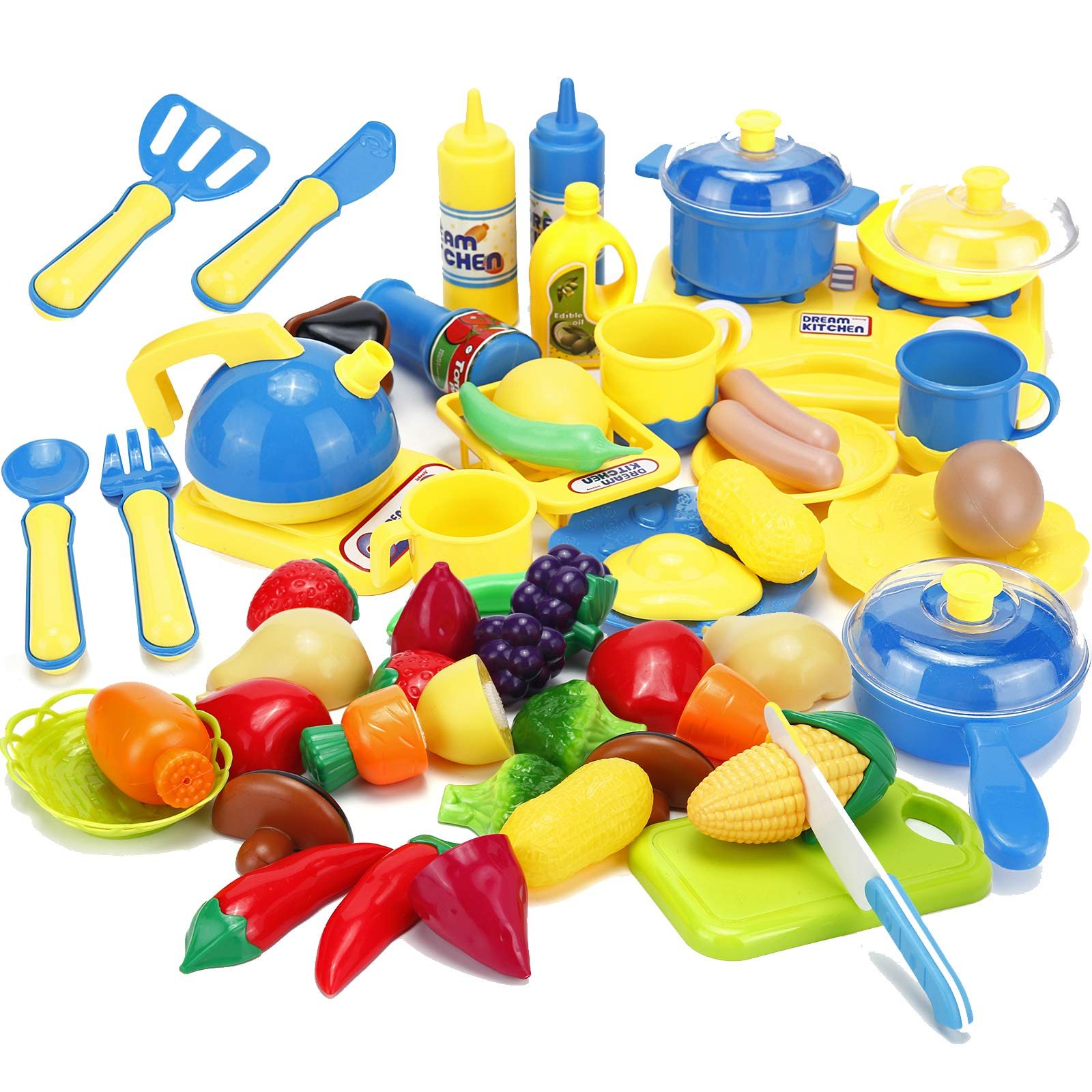 Kitchen Cooking Toys Cutting Fruits Vegetables Pretend Play Food Playset with Stove, Pots and Pans Set Cookware Utensils Accessories for Kids Toddlers Girls Boys Gifts Learning Educational 46pcs by Kimicare