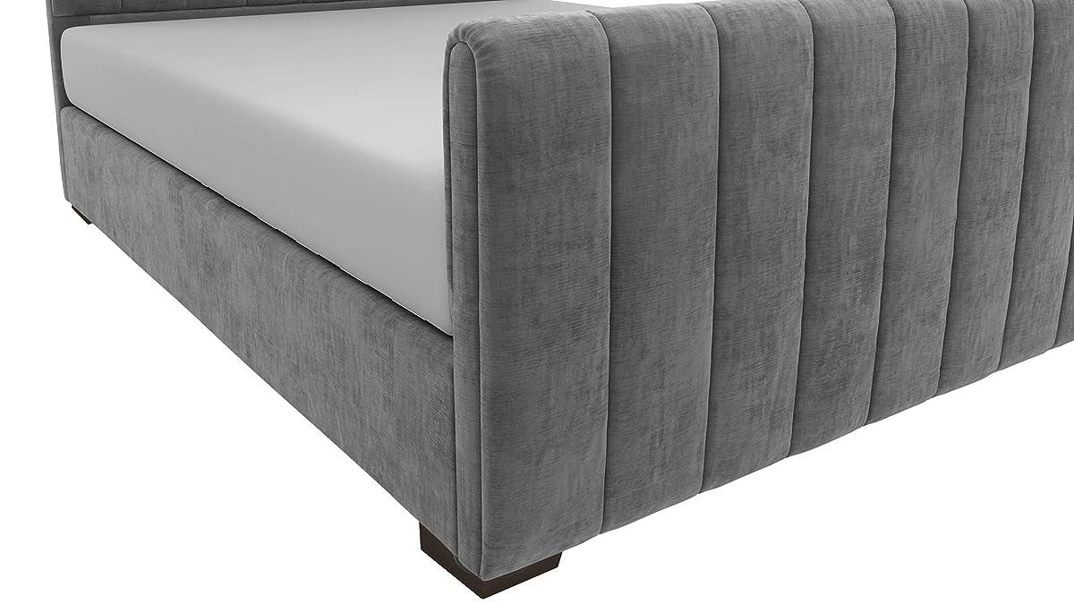 DHP Dante Upholstered Bed with Luxurious Velvet Upholstered Design, Queen Size - Grey Velvet