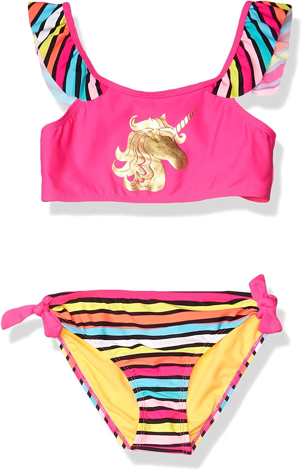 Limited Too Girls Big Printed Two Piece Swimsuit with Ruffle Trim