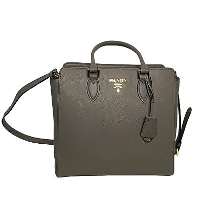 1444744da7 Prada Women s Gray Saffiano Handbag 1BA189  Handbags  Amazon.com