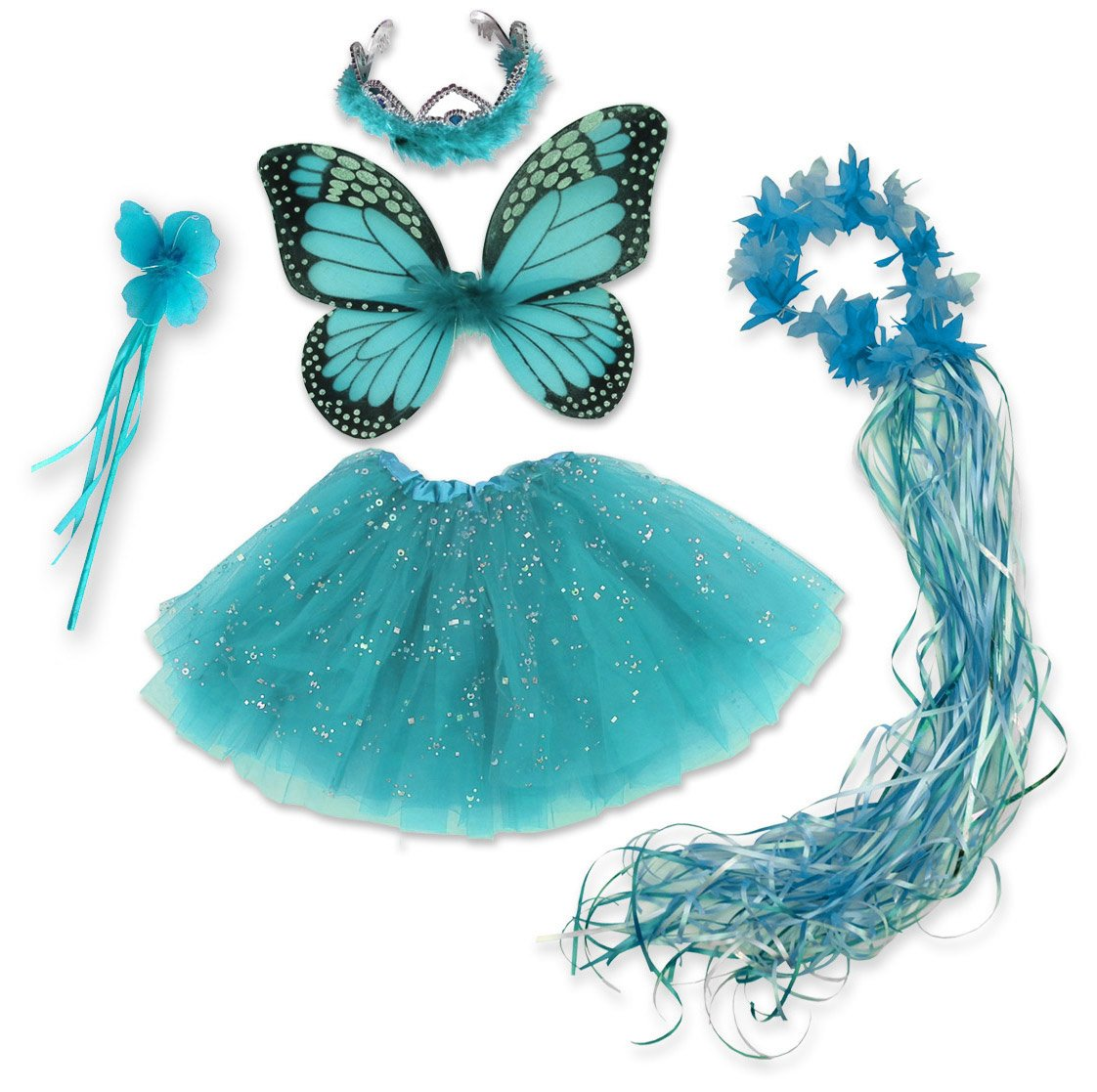 Monarch Blue Fairy Costume, Wings, Tutu, Wand, Halo & Tiara