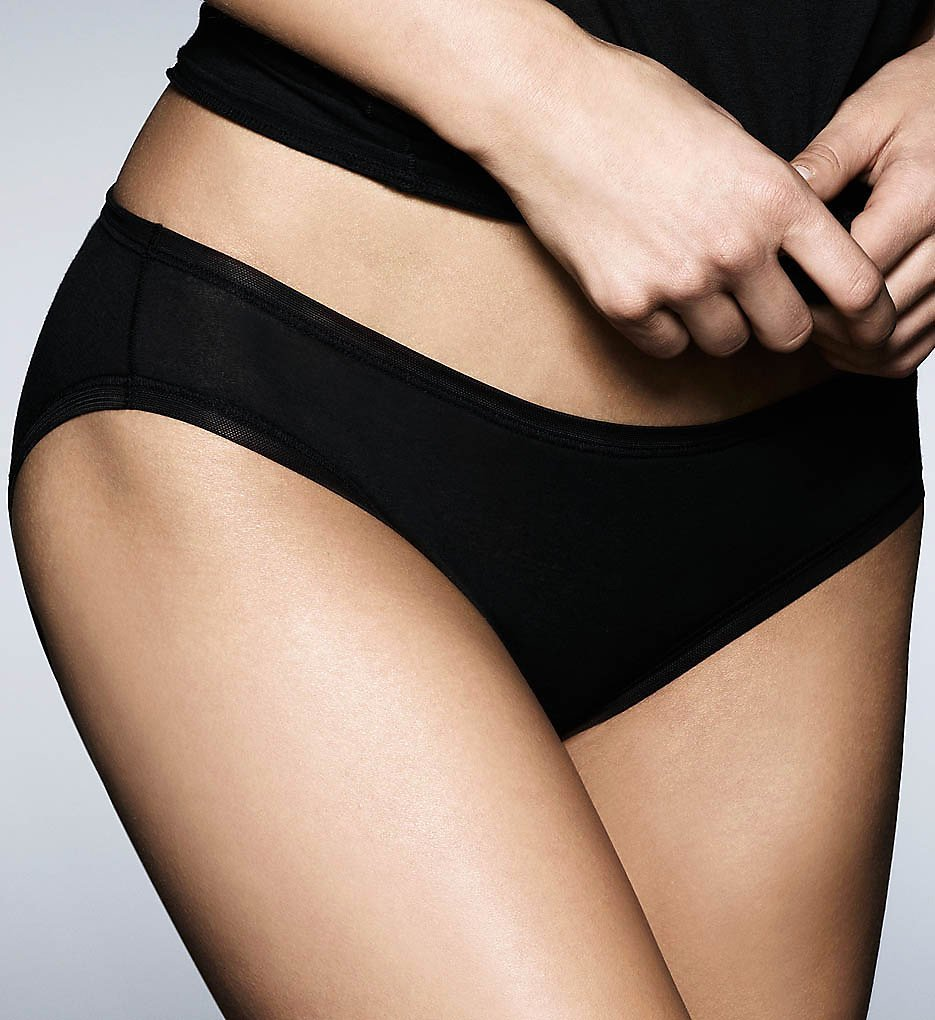 Fine Lines Womens Pure Cotton Bikini, M, Black
