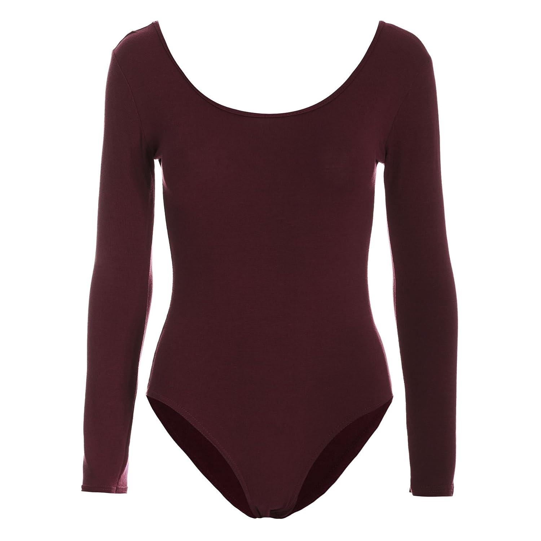 Be Jealous Womens Bodysuit Ladies Plain Long Sleeve Scoop Neck Jersey Party Leotard Top Plus Size UK 8-26
