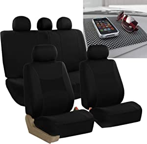 FH Group FB030115 Light & Breezy Cloth Seat Cover Set Airbag & Split Ready, Solid Black w. FH1002 Non-Slip Dash Grip Pad- Fit Most Car, Truck, SUV, or Van