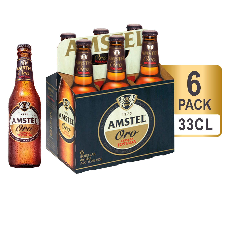 Amstel Oro Cerveza - Pack de 6 Botellas x 330 ml - Total: 1,98 L
