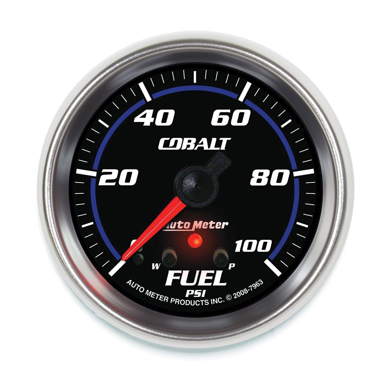 Auto Meter 7963 Cobalt 2-5/8'' 0-100 PSI Full Sweep Electric Fuel Pressure Gauge