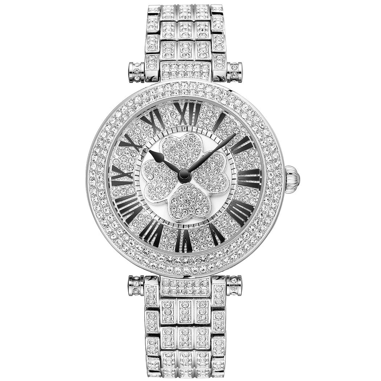 PB Damen Armbanduhr Analog Quarzuhr Österreich Crystal Frau Silber Edelstahl Uhr HL605B