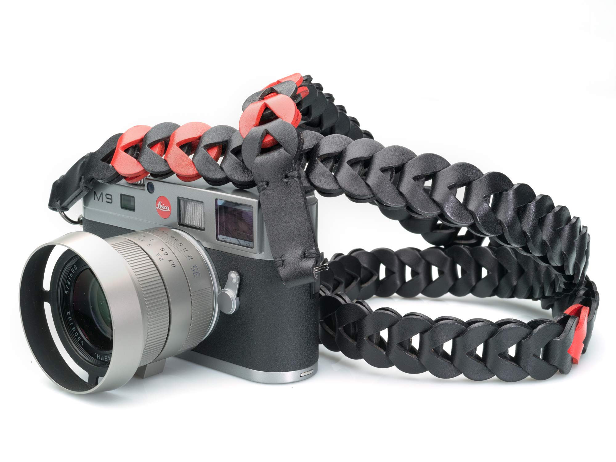 Vi Vante Victory Leather Luxury Camera Strap Black with RED Highlight Links 47 inches