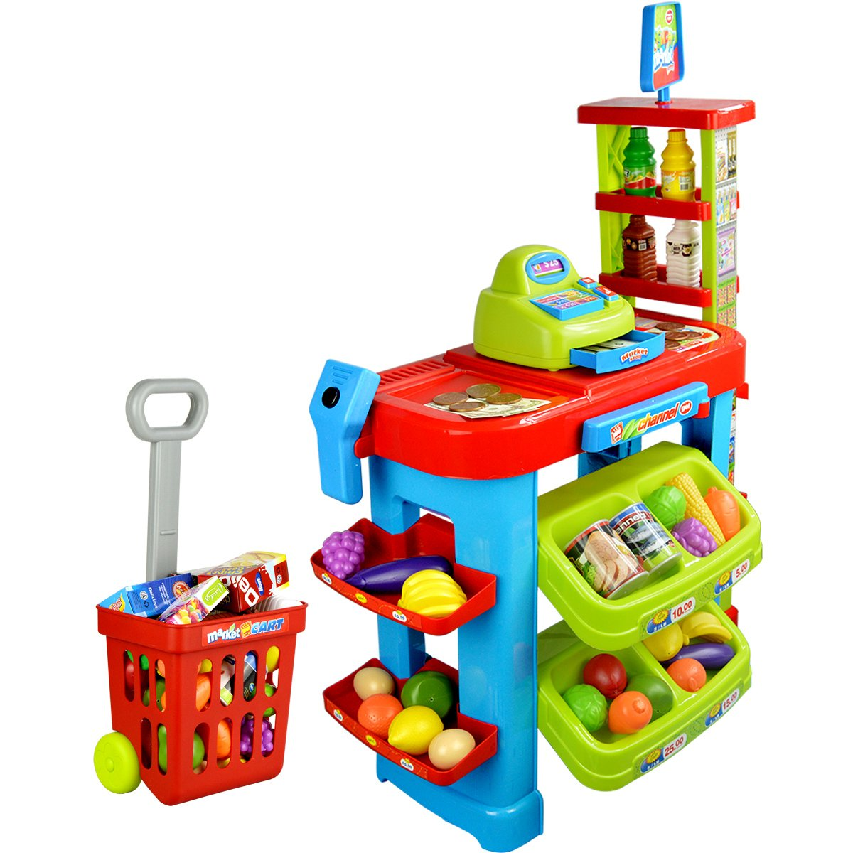 PowerTRC® Fun Super Market Pretend Play Toy Market Play Set with Toy Cash Register, Working Scanner, Shopping Cart, Pretend Food and Money by PowerTRC (Image #2)