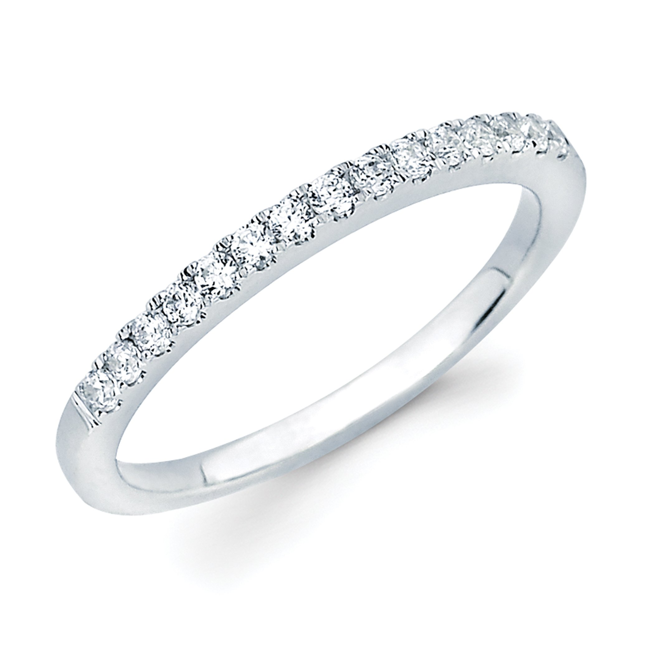14K White Gold 1/4 Ctw. Diamond Stackable 2MM Band Ring