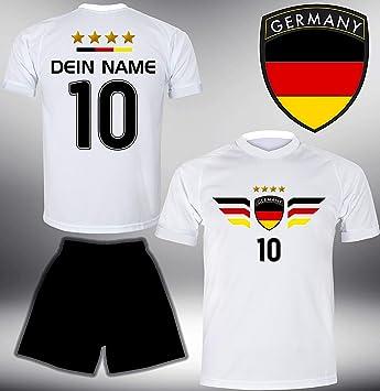 ElevenSports Deutschland Trikot Set 2018 mit Hose GRATIS Wunschname + Nummer im EM WM Weiss Typ #DE4th - Geschenke für Kinder